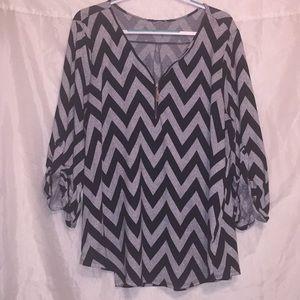 Tacera black/gray chevron dress w/ zipper Sz 2x 🖤